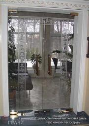 Стеклянная дверь (2-х створчатая, маятниковая)