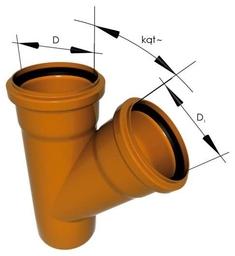 Тройник ПВХ 200*110*87 для наружной канализации