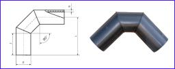 Отвод сварной, равнопроходный, 90° трёхсекционный SDR11 PN 16
