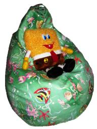 Кресло груша детское, ткань-замша, аквариум