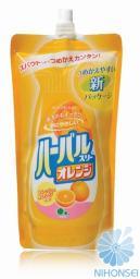 Mitsuei Средство для мытья посуды, овощей и фруктов с ароматом апельсина (мягкая экономичная упаковка) 0.4л