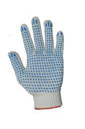 Рабочие перчатки ХБ с ПВХ «Стандарт» белые, 4 нити, 10 кл. вязки