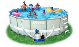 Бассейн каркасный Intex - 54924, фильтр, лестница, тент, видео