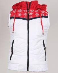 Жилет женский белый с красными вставками и снежинками