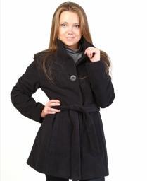 Пальто черное однобортное на поясе
