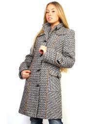 Пальто прямое черно-белое с коричневой отделкой