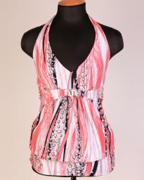 Туника женская бело-розовая с абстрактным принтом