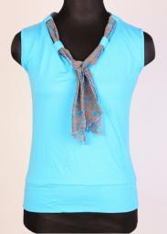 Блузка женская голубая с шарфом