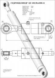 Гидроцилиндр поворота отвала цг-100.50х1000.11, (гц02-100х50х1000) гс-18.05, 18.07, 25.09