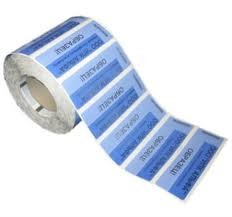 Пломба-наклейка 20*38 (40) СК1 синий, без следа, Силтэк