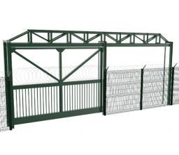 Промышленные откатные ворота с верхней фермой