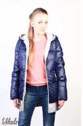 Куртка женская темно-синяя на белом подкладе, удлиненного кроя