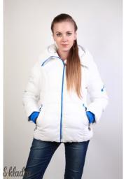 Куртка женская белого цвета с ярко-синими манжетами и замком