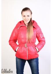 Куртка женская розовая с эластичным поясом