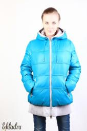 Куртка женская ярко-голубая с втачным капюшоном