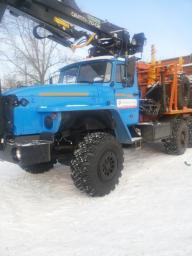 Лесовоз Урал 55571-1151-70, с манипулятором Омтл-70.02+ прицеп роспуск