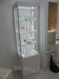 Стеклянная витрина с высоким накопителем и фризом из глянцевого дсп