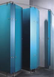 Стеклянные сантехкабины общественных санузлов. Туалетные перегородки, душевые кабинки из стекла. Фурнитура нержавеющая крепежная для монтажа кабин.