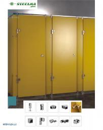 Крепеж для душевых и туалетных кабин из стекла. Стеклянные сантехнические разделительные перегородки общественных туалетов.