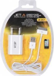 Универсальное зарядное устройство Jet.A JA-UC7 (Apple 30-pin USB Data Cable в комплекте, USB порт для зарядки IPhone, цифровых у