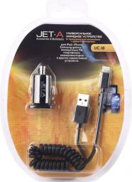 Универсальное автомобильное ЗУ Jet.A UC-I8 (2 USB-порта, 2,1А, кабель Apple 8 pin в комплекте)