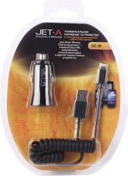 Универсальное автомобильное ЗУ Jet.A UC-I9 (2 USB-порта, 3,1А, кабель Apple 8 pin в комплекте)