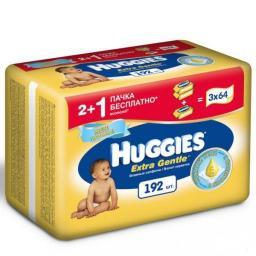 """Влажные салфетки детские Huggies """"Extra Gentle"""" 3*64шт"""