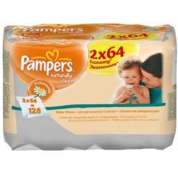 """Салфетки детские увлажненные Pampers """"Naturally Clean"""" Duo 2x64/72"""