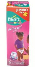 "Трусики Pampers ""Active Girl"" Extra Large 16+ кг, 44 шт"