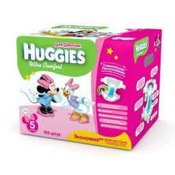 """Подгузники Huggies """"Ultra Comfort"""" Disney Box 5 для девочек 12-22 кг, 105 шт"""