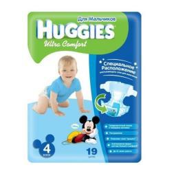 """Подгузники Huggies """"Ultra Comfort"""" 4 для мальчиков 8-14 кг, 19 шт"""