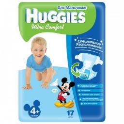 """Подгузники Huggies """"Ultra Comfort"""" 4+ для мальчиков 10-16 кг, 17 шт"""