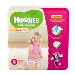 """Подгузники Huggies """"Ultra Comfort"""" Jumbo для девочек 5 12-22 кг, 36 шт"""