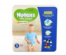 """Подгузники Huggies """"Ultra Comfort"""" Jumbo для мальчиков 5 12-22 кг, 36 шт"""