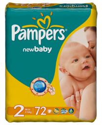 Подгузники Pampers New Baby 3-6 кг, 72шт