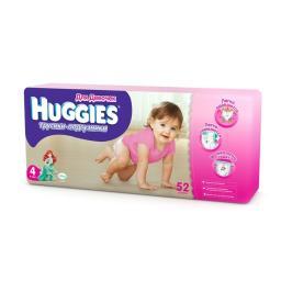 Трусики Huggies 4 для девочек 9-14 кг, 52 шт