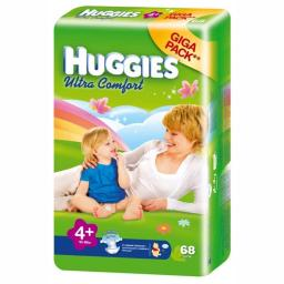 """Подгузники Huggies """"Ultra Comfort"""" 4+ 10-16 кг, 68 шт"""