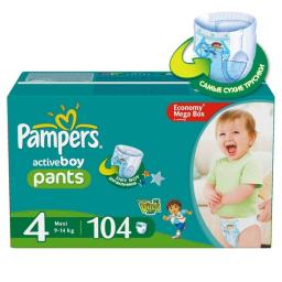 "Трусики Pampers ""Active Boy"" Maxi 9-14 кг, 104 шт"