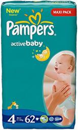 "Подгузники Pampers ""Active Baby"" Maxi 7-14 кг, 62шт"