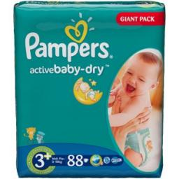 "Подгузники Pampers ""Active Baby"" Midi Plus 5-10 кг, 88шт"