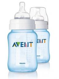Бутылочка для кормления Avent Classic 260мл, 2шт голубая SCF685/27