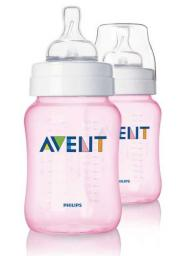 Бутылочка для кормления Avent Classic 260мл, 2шт розовая SCF684/27