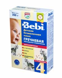 Каша Bebi Гречневая низкоаллергенная с пребиотиками с 4 мес, 200 г, б/мол.