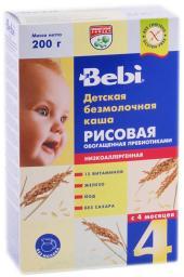 Каша Bebi Рисовая низкоаллергенная с пребиотиками с 4 мес, 200 г, б/мол.