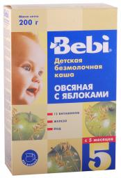 Каша Bebi Овсяная с яблоками с 5 мес, 200 г, б/мол.