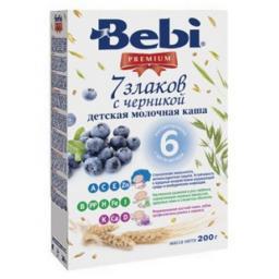 Каша Bebi Premium 7 злаков с черникой с 6 мес, 200 г, мол.