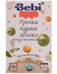Каша Bebi Premium Гречка с курагой и яблоком с 5 мес, 200 г, мол.