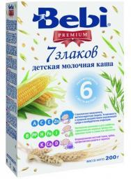 Каша Bebi Premium 7 злаков с 6 мес, 200 г, мол.
