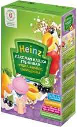"""Каша Heinz """"Лакомая"""" Гречневая с грушей, абрикосом, черной смородиной с 5 мес, 200 г, мол."""