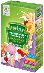 """Каша Heinz """"Лакомая"""" Пшеничная с абрикосом, персиком, вишенкой с 5 мес, 200 г, мол."""